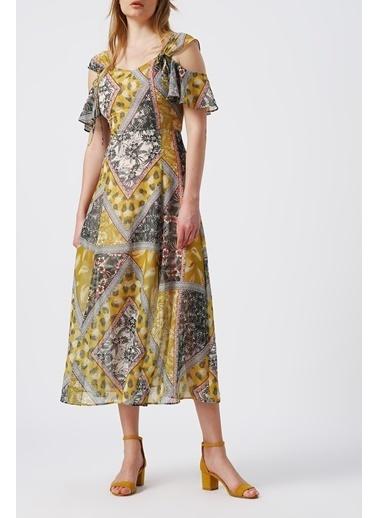Random Kadın Omuz Dekolteli Kalın Askılı Desenli Midi Elbise Hardal